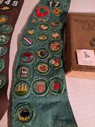 2 Vintage Girl Scout Sash W/rare Patches 1920 Manual And 2 Sterling Fire Girl Pins