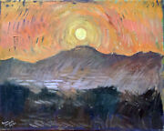 Sunset Landscape Abstract Oil Painting 16x20 Original Signed On Canvas