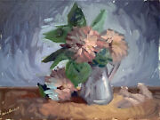 Flower Vase Still Life Abstract Oil Painting 12x16 Original Signed On Canvas
