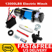 13000lbs Electric Winch 12v Synthetic Nylon Rope Waterproof Truck Towing Truck