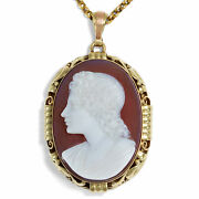 Vintage Gems Pendant Agate Gem And 585 Gold Dated 1950 With Chain Cameo