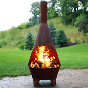 Sunnydaze Chiminea Fire Pit - Large Outdoor Patio Wood-burning Mexican Style Bac