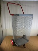 Vintage Metal Rolling Market Grocery Shopping Basket Cart Caddy And Folding Handle