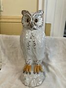 """Vintage Sculpture White Owl 14"""" Tall Ceramic Clay Pottery"""