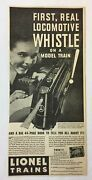 1935 Lionel Trains Ad First Real Locomotive Whistle On A Model Train