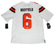 Baker Mayfield Signed Cleveland Browns 6 White Nike Limited Jersey W/ 1 Pick