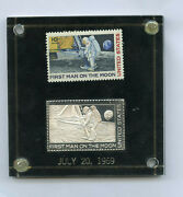 First Man On The Moon Stamp In Silver And Paper