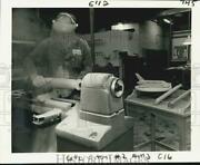 1981 Press Photo Ed Williams Works On Space Shuttle Model Wooden Fuel Tank