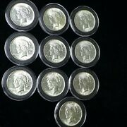 Lot Of 10 Peace Silver Dollars 1 4 1922 5 1923 1 1925 Au - Cleaned