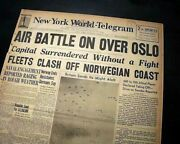 Norway And Denmark Nazis Germany Invasion Operation Weserübung 1940 Wwii Newspaper