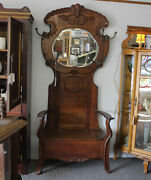 Antique Oak Hall Seat With Stylish Mirror And Fancy Hooks