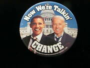 2008 Barack Obama For President 2 1/4 Pinback Button Now We Are Talking Change