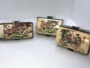 Set Of 3 Chinese Cow Bone Carved Gift Box Trinket Box W/hand Painted Graphics