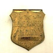 1949 Lone Ranger Deputy Brass Stamped Toy Badge With A Secret Compartment