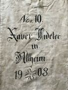 """1903 German Grain/feed Sack/charming Graphics/doublesided/side Open/52 1/2"""" Wide"""