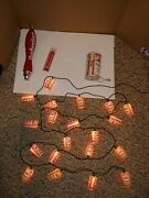 Vintage 70s/80s Budweiser Bud Beer Taps Markers,can Radio,string 20 Cans Lights