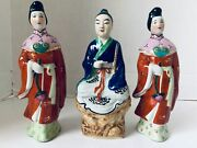 3 China Mud Man Woman Hand Painted 7 Standing Figurines Vintage 1970s
