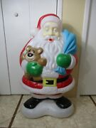 Vintage Enormously Fat Lighted Santa Claus W/ Teddy Bear Christmas Blow Mold 40