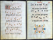 1537 Large Vellum Latin Antiphonary Music Sheet Prayers To Dead And St Augustine