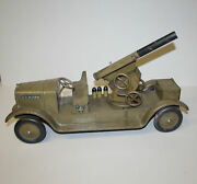 Antique Pressed Steel Sonny Military Toy Truck With Artillery Gun