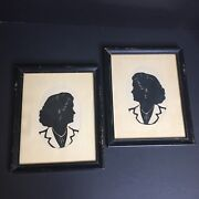 Vintage Silhouette Picture Set Of 2 Lady Cream Black Framed 11 X 9 Chippy Frames
