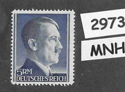 2973 Mnh 5rm Adolph Hitler Third Reich Germany Stamp / 1942-1944 / Sc527a