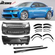 Fits 15-20 Dodge Charger Widebody Whole Bumper Side Carbon Look Diffuser Kits