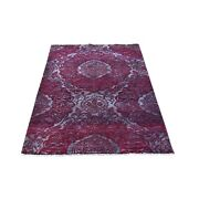 3'2x5'6 Wine Red Wool And Silk Modern Damask Design Mat Hand Knotted Rug R66123