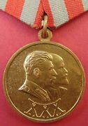 Soviet Army And Navy 30 Years Medal 1948 Stalin And Lenin Portrait +brass Suspension