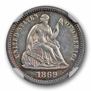 1869 Proof Seated Liberty Half Dime Ngc Pf 62 Pr Low Mintage Toned Coin