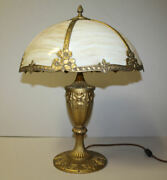 Antique Miller Company Curved Glass Panel Table Lamp