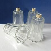 4 Clear Ribbed Votive Peg Glass Candle Cups Home Interior Homco New Grippers St