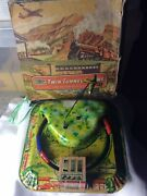 Very Rare Mettoy Plaything Vintage Clckwork Tin Toy Twin Tunnel Trains