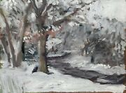 Snow Winter Abstract Landscape Oil Painting On Canvas 18x24 Original