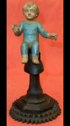 Antique Baby Jesus With Wood Stand. Carved Wood Figure 19th C. Religious Image
