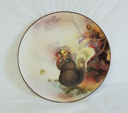 Rare Nippon Hand Painted Relief Molded Squirrel And Nuts Plate.. Early 1900's