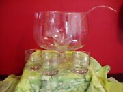 New Princess House 069 Crystal Heritage 14 Pc Footed Punch Bowl 12 Glasses Ladle