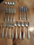 20 Pc Set Farberware Nicole Gold Plated Flatware 4 Ea Salad Forks Spoons And More