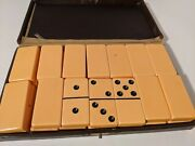 Vintage 30s/40s Peach Colored Bakelite Dominoes Marked Leather Case Rottgames