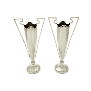Pair Of Antique Edwardian Sterling Silver Vases - 1908