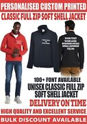 Personalised Custom Printed Full Zip Soft Shell Jacket Your Text Logo Workwear