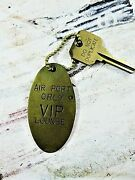 Vintage Orly Airport Vip Lounge Brass Fob With Ball Chain Key 1960s France Rare