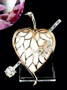 1952 Crown Trifari White And039jelly Bellyand039 Pierced Caged Heart Leaf Bug Brooch Case