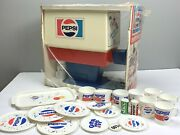 Vintage Pepsi Dispenser With Accessories Cups Tray Plates Catch Spirit New Open