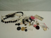 Vintage Lot Of Buttons Leather Key Chain 2 Necklaces / Diy Items