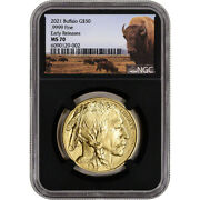 2021 American Gold Buffalo 1 Oz 50 - Ngc Ms70 Early Releases Bison Label Black