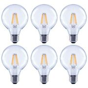 Edison Filament Led Light Bulb 60 Watt Equivalent G25 Globe Clear Vintage 6 Pack