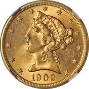 1902-s Liberty Gold 5 Ngc Ms64 Great Eye Appeal Strong Strike