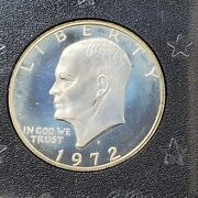 1972 S 1 Eisenhower Brown Ike 40 Proof Silver Dollar Coin Ogp Neat Blue Toning