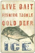 Hawaii Bait Stand Sign - Fishing Tackle, Cold Beer, Ice - Vintage Advertising